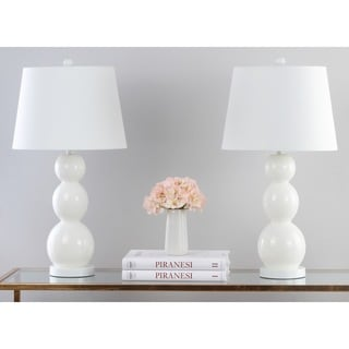 Safavieh Lighting 27.5-inch Jayne Three Sphere Glass White Table Lamps (Set of 2)