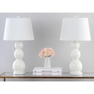 "Safavieh Lighting 28-inch Jayne Three Sphere Glass White Table Lamp (Set of 2) - 14""x14""x26.5"""