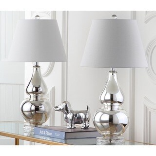 Safavieh Lighting 26.5-inch Cybil Double Gourd Silver Table Lamp (Set of 2)