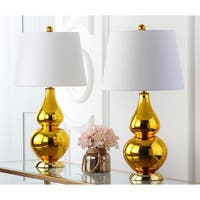 Safavieh Lighting 26.5-inch Cybil Double Gourd Gold Table Lamp (Set of 2)