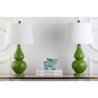 Safavieh Lighting 27-inch Cybil Double Gourd Green Table Lamp (Set of 2)
