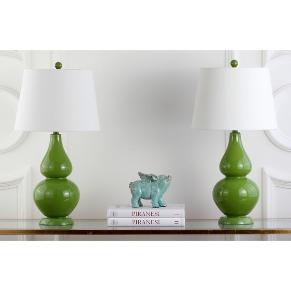Safavieh Lighting 26.5-inch Cybil Double Gourd Green Table Lamps (Set of 2)