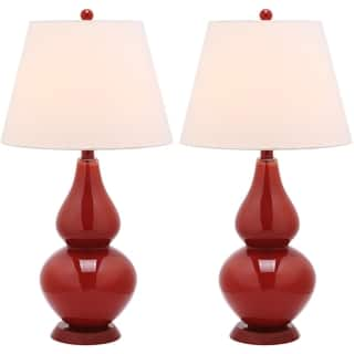 Safavieh Lighting 26.5-inch Cybil Double Gourd Red Table Lamps (Set of 2)|https://ak1.ostkcdn.com/images/products/7570784/P15000013.jpg?impolicy=medium