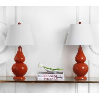 Safavieh Lighting 26.5-inch Cybil Double Gourd Orange Table Lamps (Set of 2)