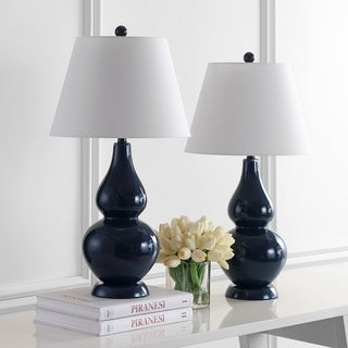 Navy Blue Table Lamps: Safavieh Lighting 26.5-inch Cybil Double Gourd Navy Table Lamps (Set of 2),Lighting