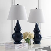 Safavieh Lighting 26.5-inch Cybil Double Gourd Navy Table Lamp (Set of 2)
