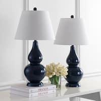 Safavieh Lighting 27-inch Cybil Double Gourd Navy Table Lamp (Set of 2)