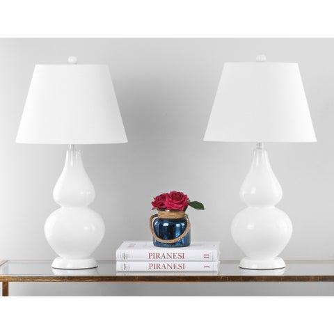 Safavieh Lighting 26.5-inch Cybil Double Gourd White Table Lamp (Set of 2)