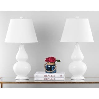 Safavieh Lighting 26.5-inch Cybil Double Gourd White Table Lamps (Set of 2)|https://ak1.ostkcdn.com/images/products/7570788/P15000017.jpg?impolicy=medium