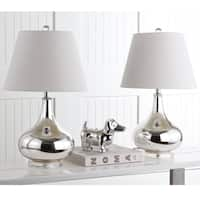 Safavieh Lighting 24-inch Amy Gourd Glass Silver Table Lamp (Set of 2)