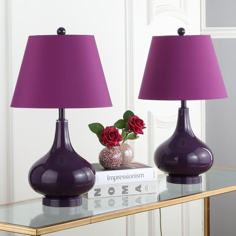 Safavieh Lighting 24-inch Amy Gourd Glass Dark Purple Table Lamp (Set of 2)
