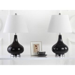 Safavieh Lighting 24-inch Amy Gourd Glass Black Table Lamp (Set of 2)