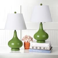 Safavieh Lighting 24-inch Amy Gourd Glass Green Table Lamp (Set of 2)