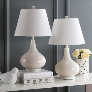 Safavieh Lighting 24-inch Amy Gourd Glass Pearl White Table Lamps (Set of 2)