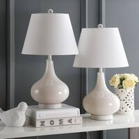 Safavieh Lighting 24-inch Amy Gourd Glass Pearl White Table Lamp (Set of 2)