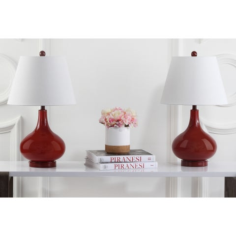 Safavieh Lighting 24-inch Amy Gourd Glass Red Table Lamp (Set of 2)