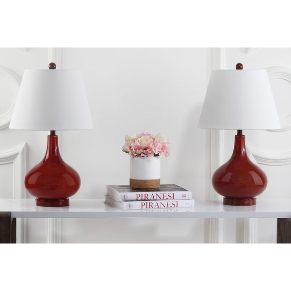 Safavieh Lighting 24-inch Amy Gourd Glass Red Table Lamps (Set of 2)