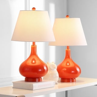 Charming Safavieh Lighting 24 Inch Amy Gourd Glass Orange Table Lamp (Set Of 2)