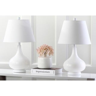 Safavieh Lighting 24-inch Amy Gourd Glass White Table Lamps (Set of 2)
