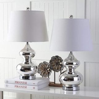 "Safavieh Lighting 24-inch Eva Double Gourd Glass Silver Table Lamp (Set of 2) - 14""x14""x24"""