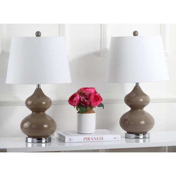 Safavieh Lighting 24-inch Eva Double Gourd Glass Taupe Table Lamp (Set of 2)