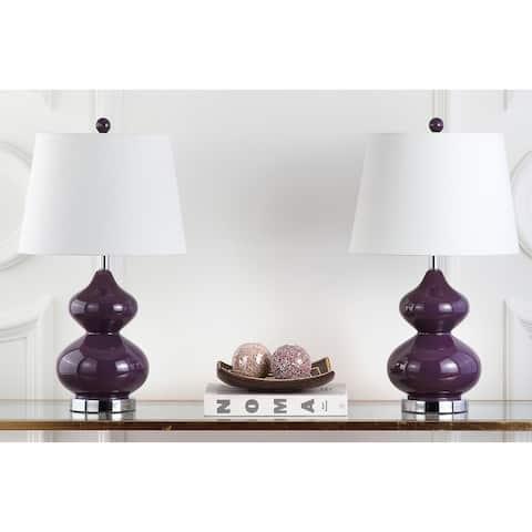 Safavieh Lighting 24-inch Eva Double Gourd Glass Dark Purple Table Lamp (Set of 2)