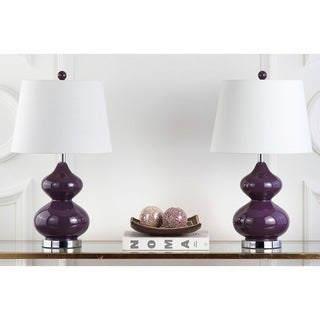 Safavieh Lighting 24-inch Eva Double Gourd Glass Dark Purple Table Lamp (Set of 2)