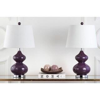 Safavieh Lighting 24 Inch Eva Double Gourd Glass Dark Purple Table Lamp  (Set Of