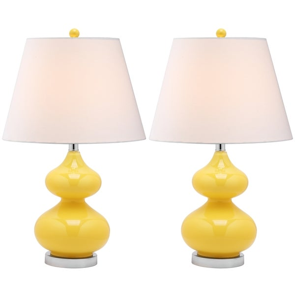 Safavieh Lighting 24-inch Eva Double Gourd Glass Yellow Table Lamps (Set of 2)