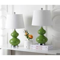 Safavieh Lighting 24-inch Eva Double Gourd Glass Green Table Lamp (Set of 2)