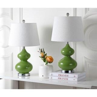 Safavieh Lighting 24-inch Eva Double Gourd Glass Green Table Lamp (Set of 2)