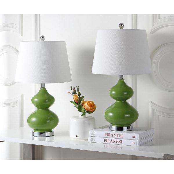 Safavieh Lighting 24-inch Eva Double Gourd Glass Green Table Lamps (Set of 2)