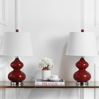 Safavieh Lighting 24-inch Eva Double Gourd Glass Red Table Lamp (Set of 2)