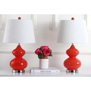 "Safavieh Lighting 24-inch Eva Double Gourd Glass Orange Table Lamp (Set of 2) - 14""x14""x24"""