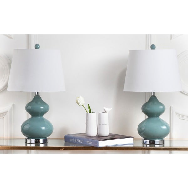 Safavieh Lighting 24-inch Eva Double Gourd Glass Marine Blue Table Lamp (Set of 2)