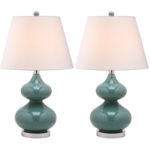 Safavieh Lighting 24-inch Eva Double Gourd Glass Marine Blue Table Lamps