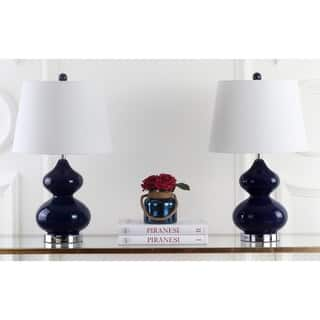 Safavieh Lighting 24-inch Eva Double Gourd Glass Navy Table Lamps (Set of 2)|https://ak1.ostkcdn.com/images/products/7570815/P15000041.jpg?impolicy=medium