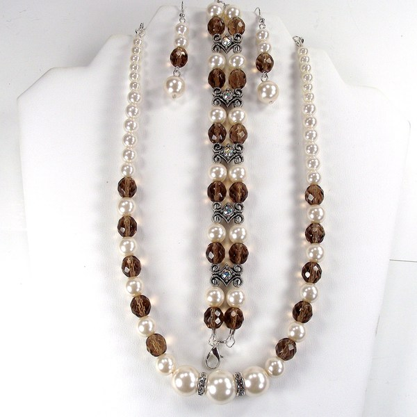 Off White Glass Pearl and Smoky Quartz Jewelry Set