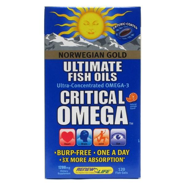 ReNew Life Norwegian Gold Critical Omega 1200mg Fish Oil Supplement (120 Softgels)