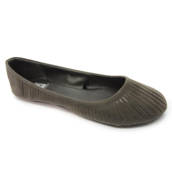 Blue Women's Grey Faux Suede Slit Flats