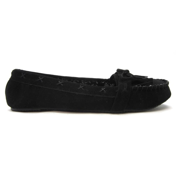 Blue Womans 'Pocca' Black Moccasin Flats