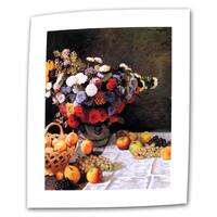 Claude Monet 'Flowers and Fruit' Flat Canvas Art - Multi