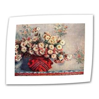 Claude Monet 'Red Vase' Flat Canvas Art - Multi