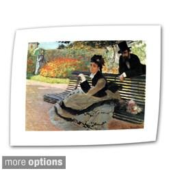 Claude Monet 'Park Bench' Flat Canvas Art