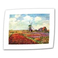 Claude Monet 'Windmill' Flat Canvas Art - Multi