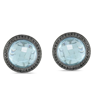 Miadora Signature Collection 14k White Gold Blue Topaz and 5/8ct TDW Black Diamond Earrings