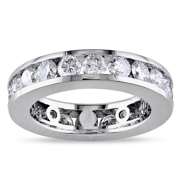 Miadora Signature Collection 14k White Gold 3ct TDW Round-cut Diamond Eternity Ring