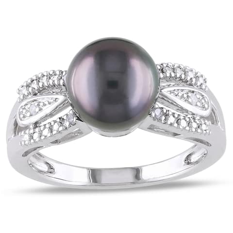 Miadora Sterling Silver Tahitian Pearl and Diamond Accent Ring (9-9.5 mm)