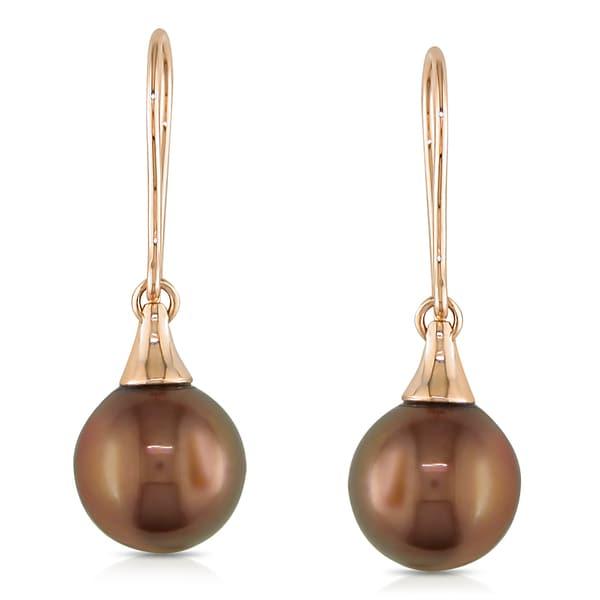 Miadora 14k Rose Gold Tahitian Chocolate Pearl Earrings (9-9.5 mm)