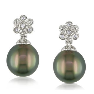 Miadora Sterling Silver Tahitian Pearl and Diamond Earrings